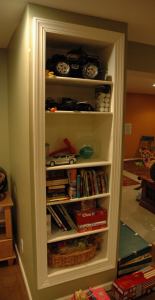 Built-in shelves in my basement, great idea.