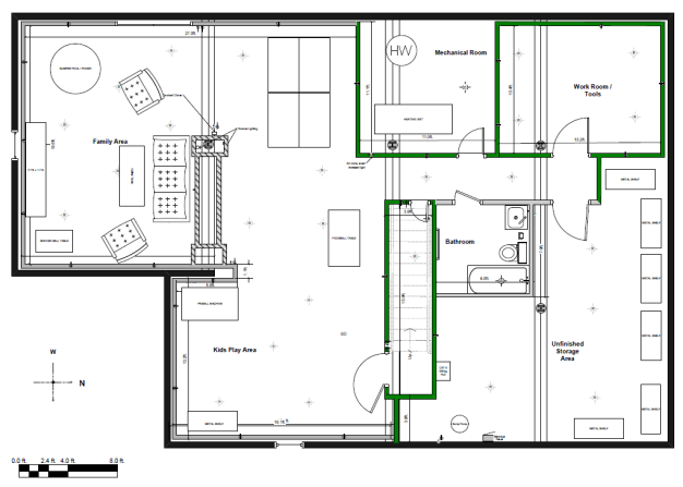 Designing your basement i finished my basement for Basement design layouts