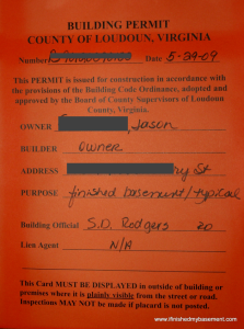 Orange Permit to Finish a Basement