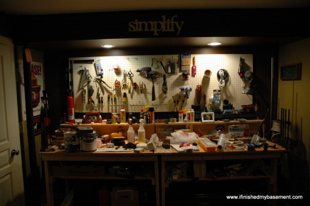 picture of a basement workbench fully lit