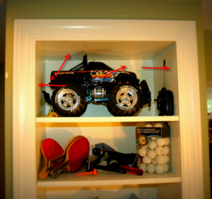 built in bookcase close up