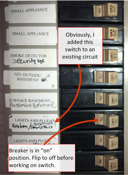 how do you install a light switch - breaker box