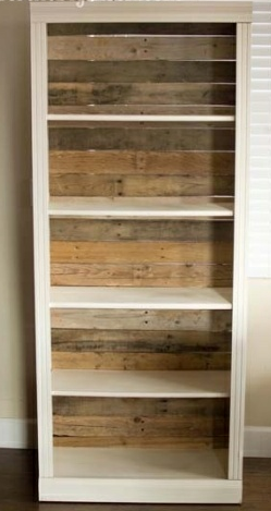 pallet wood backed bookcase