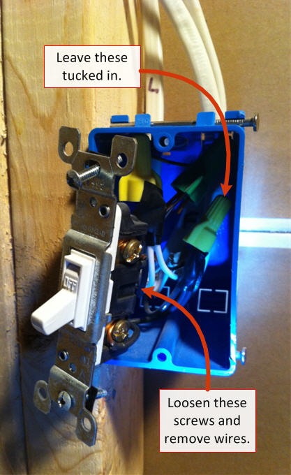 replacing a light switch - step 3