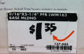 picture of price tag with linear foot abbreviation