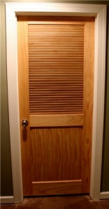 For the HVAC room I used this natural looking door with a slatted top to allow for ventilation that's required by code.